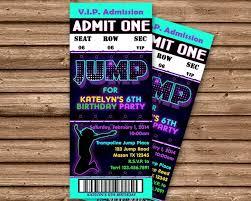 Party Ticket Invitations Unique Girls Jump Birthday Party Ticket Invitations Party Print Express
