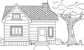 coloring page of a house