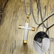 whole men s two tone cross necklace for men stainless steel white yellow crucifix male spiritual jewelry 24 inch best friend necklaces rose gold