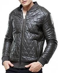men s biker er grey quilted leather jacket