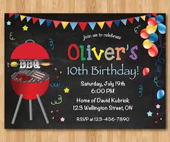 printable invitations for kids bbq birthday invitation kids chalkboard bbq barbecue birthday