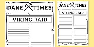 Classroom Newspaper Template Viking Raid Newspaper Template Vikings Writing Literacy Raid