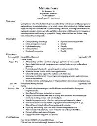 Resume Sample For Nanny Nanny Resume Samples JmckellCom 16