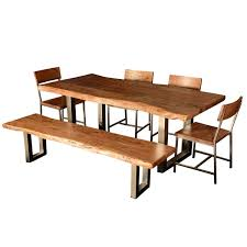modern rustic live edge dining table chair set