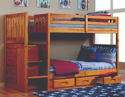 image of honey twin over twin bunk bed with stairs