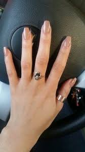 lustrelux wedding ring. short nude coffin nails and amazing ring! lustrelux wedding ring