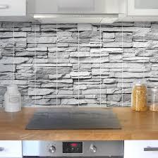 grey kitchen tile stickers fliesenbild ashlar masonry