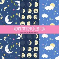 Moon Pattern Cool Set Of Pretty Moon Patterns Vector Free Download