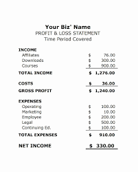 Loss And Profit Form Template For Profit And Loss Statement Self Employed Free