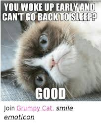 grumpy cat good smile. Modren Good Cats Ups And Grumpy Cat YOU WOKE UP EARLY AND CANT GO BACK To Cat Good Smile