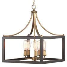 boswell quarter collection 5 light vintage brass pendant with painted black distressed wood accents