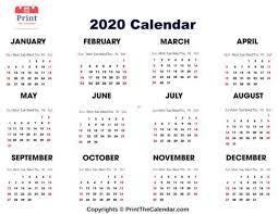 12 Months 2020 Calendar Free Printable 2020 Calendar Templates