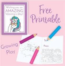 These free printable unicorn coloring pages are super sweet and fun for unicorn fans of all ages! Unicorn Valentine S Day Card Freebie Growing Play