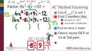 Ac Method Factoring Quadratics With The Ac Method Math 095 Goal Topic 8b