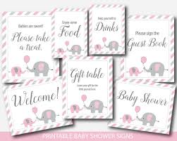 Pink Elephant Baby Shower Table Signs Bundle Gift Take Welcome