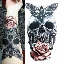 Dlouhotrvající Vzpřímené Tetování Samolepka Rose Květová Lebka Vodotěsné Dočasné Tělo Rameno Umění Fake Tattoo Samolepka At Vova