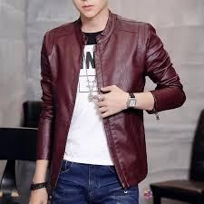 leather jacket men plus velvet coat short skinny red