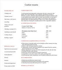 Cashier Resume Template Free 5 Sample Cashier Resumes In Pdf