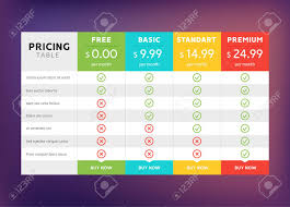 Table Chart Design Pricing Table Design For Business Price Plan Web Hosting Or