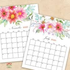 Desk Calendar Printable 2020 2021 Digital Printable Calendars Watercolor Floral