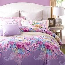 light purple bedding sets blossoming flowers pattern light purple bedding set fl print linens cotton duvet