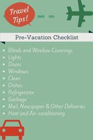 Pre-Vacation Checklist - Wildtalesof.com