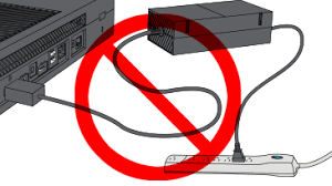 no power xbox one console the rear of an xbox one console is pictured along a power supply which