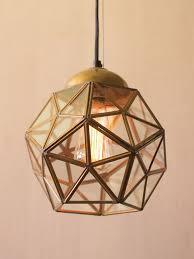 gold glass geometric medium pendant light