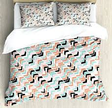 colorful duvet cover set pastel colored diagonal chevron zigzag stripes abstract geometric shapes pattern 4 piece bedding crib