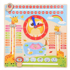 Us 11 58 46 Off Educational Wooden Clock Toy Calendar Board Teaching Clock Show Calendar Chart Date Season Weather Kids Cognitive Toy In Calendar
