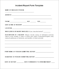 Blank Incident Report Template Medical Form Word Comicbot Co