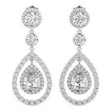 las cubic zirconia tear drop chandelier dangle drop earrings