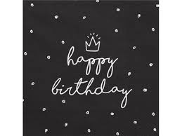 Black Happy Birthday Black Luncheon Napkins With White Happy Birthday 20 Pcs