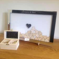 details about personalised mirror drop box frame wedding guest book white background