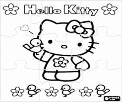 Hello kitty printable colouring sheet for girls. Hello Kitty With Flowers Puzzle Coloring Page Printable Game