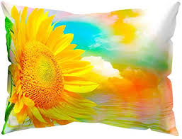 Wintefei Fresh <b>Sunflower Printed</b> Rectangle Throw Pillow Case <b>Sofa</b> ...