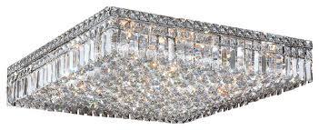 cascade 13 light chrome finish clear crystal 24 square flush mount ceiling ligh