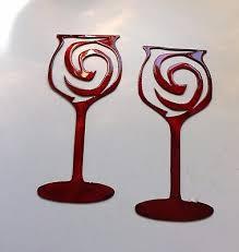 swirled wine glass pair metal wall art metallic red on red wine metal wall art with swirled wine glass pair metal wall art 13 99 picclick