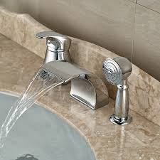roman tub faucets. Modern Waterfall Curve Spout Roman Tub Faucet Deck Mount 3pcs Bathroom Bathtub Mixer Taps With Pull Faucets S