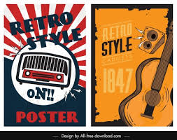 Free Music Poster Templates Music Poster Templates Radio Guitar Sketch Retro Design