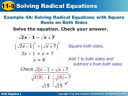 holt algebra 1 11 9 solving radical equations example 4a solving radical equations with
