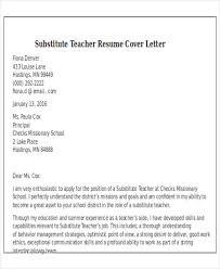 Substitute Teacher Cover Letter Samples Resume And Cover Letter