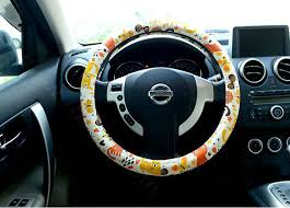 name cute erfly cats pu leather universal car steering wheel covers 15 inch yellow
