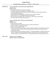 Visual Information Specialist Resume Visual Information Specialist Resume Samples Velvet Jobs 1