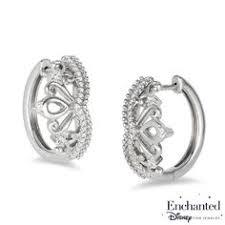 enchanted disney princess 1 5 ct t w diamond tiara hoop earrings in sterling silver