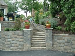 Small Picture Upper St Clair retaining wall stone pillars steps landscaping