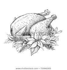 thanksgiving turkey dinner drawing. Contemporary Thanksgiving Christmas Or Thanksgiving Turkey Hand Drawn Vector Illustration Holiday  Traditional Dinner Roasted Chicken Meat On Thanksgiving Turkey Dinner Drawing A