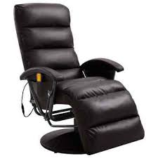 vidaXL <b>TV</b> Massage <b>Recliner Brown Faux Leather</b> Shiatsu Relaxing ...