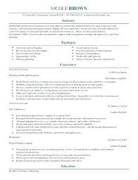Best Executive Assistant Resumes Executive Assistant Resume Example Template For Job
