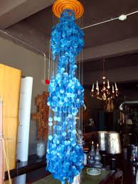 panton era capiz blue shell hanging sculpture